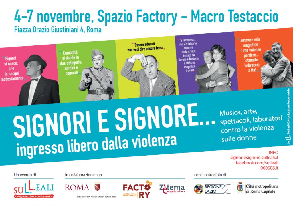 Locandina evento contro la violenza di genere 4-7 novembre